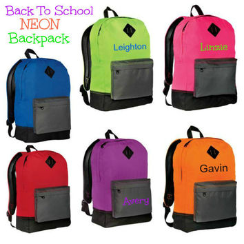 NEON Backpacks Personalized Name or Initial Monogram Back To School