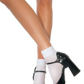 Satin Cuff Anklets (One Size,White)