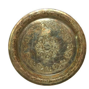 Brass Plate - Decorative Brass Plate - 8 inches in Diameter - Small Brass Plate - Small Decorative Plate