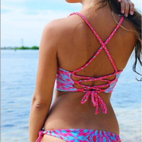 Pink Braid Lace Bikini