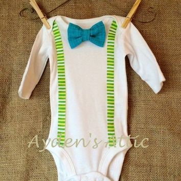 Long sleeve newborn spring bodysuit. Faux suspenders and bow tie. Coming home outfit. Baby boy spring outfit. Boy baby shower.