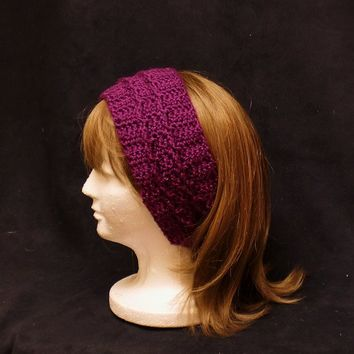 Purple Turban Headband Earwarmer Crochet Wide Hair Band Hair Style Accessory Beauty