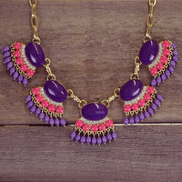 Primrose Purple Fan Fringe Necklace Set