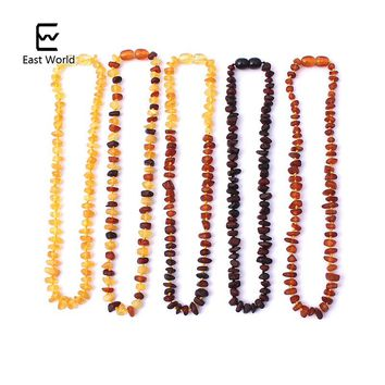 EAST WORLD Raw Amber Necklace for Adults Raw Irregular Beads Baltic Natural Amber Women Necklace Organic Jewelry Amazon Supplier