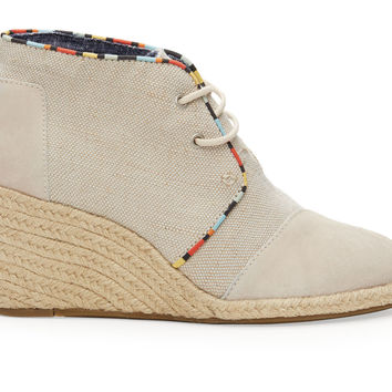 TOMS Whisper Burlap Suede Women's Desert Wedges Natural