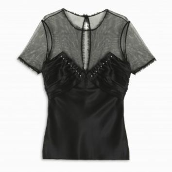 Boutique 1 - ALEXANDER WANG - Black Sheer Ruched Top | Boutique1.com