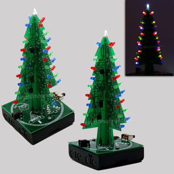 New 3D Christmas Trees three color led electronic diy kit for Christmas gift New Year gift