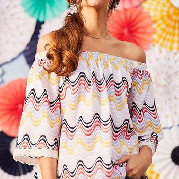 Between Friends Multicolor Wave Geometric Pattern Embroidery 3/4 Sleeve Off The Shoulder Top