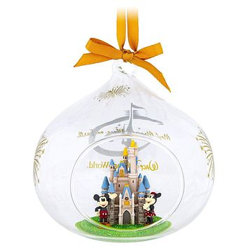 Disney Parks Mickey Minnie Mouse Cinderella Castle Blown Glass Holiday Ornament