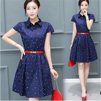 Young women dress in summer new fashion women's clothing of cultivate one's morality printing high quality female dress OK83
