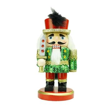 """7"""" Green  Red and Gold Wooden Christmas Chubby Nutcracker Soldier with Sword"""