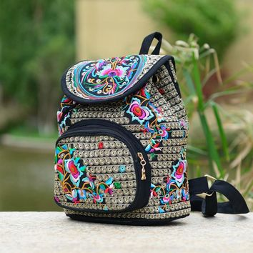 Women's backpack embroidery rose flowers cylindrical cover type string buckle school bags