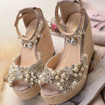 Handmade pearl wedding shoes,pearl  rhinestone sandals, flat shoes,bridal shoes,wedges shoes