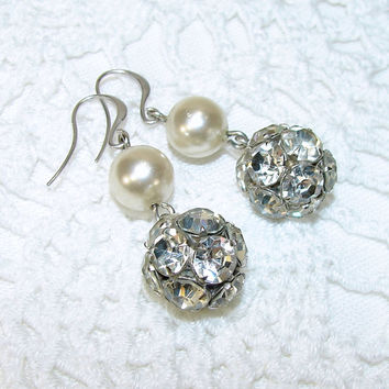 Rhinestone Ball Dangle Earrings Cream White Pearl Drops Wedding Bridal Prom Vintage Jewelry Redesign