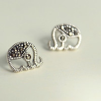 925 Sterling Silver Marcasite Stone Small Elephant Post Stud Earrings 9661
