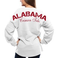 Alabama Crimson Tide Women's Pom Pom Jersey Oversized Long Sleeve T-Shirt - White