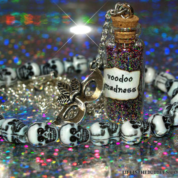 Dr. Facilier Shadow Man, Voodoo Madness Magical Necklace with a Mardi Gras Mask Charm, Disney Princess and the Frog,  Life is the Bubbles
