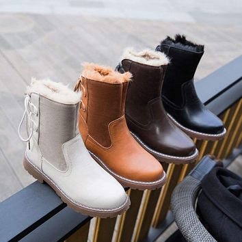 Fashion Women's Leisure Keep Warm Round Toe Shoes Low-Heeled Rear Tie Snow Boots Macchar Cosplay Catalogue