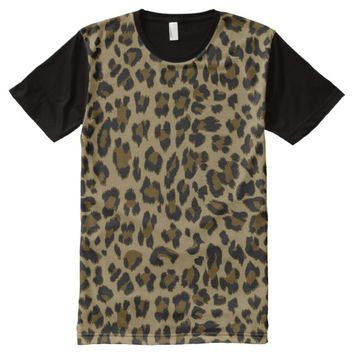 Leopard Print Men's All-Over Print Panel T-Shirt