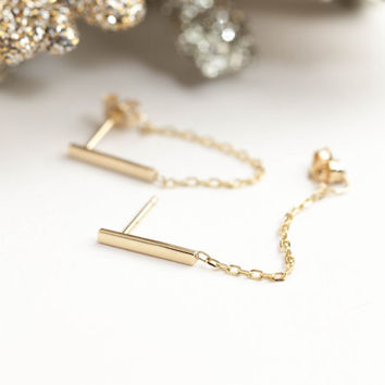 14k solid gold bar chain earrings, dangle chain earrings, bar earrings, gold bar earrings with chain, rose gold, white gold, bar-e105