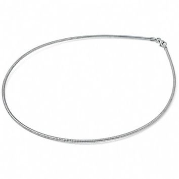 Lauren's 16 Inch 2mm Round Stainless Steel Omega Chain Necklace