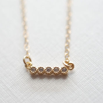Tiny Gold Diamond Bar Necklace, Tiny Bar Necklace, Diamond Bar Necklace, Pave Diamond Bar Necklace, Thin Bar Necklace, 14k Gold Bar Necklace
