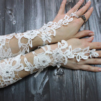 20% OFF // ON SALE // Long Bridal gloves, White Lace bridal gloves beads fancy, Fingerloop lace gloves french lace gloves, Wedding gloves