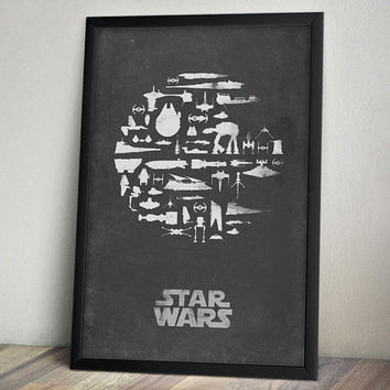 Star Wars Inspired Vintage Poster - Thats No Moon