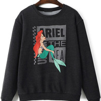 Black Mermaid Print Long Sleeve Sweatshirt