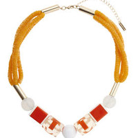 Sequin and Block Beaded Necklace - Orange