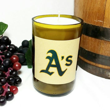 Recycled Wine Bottle Oakland A's Scented Soy Wax Candle/Repurposed Glass Bottle Candle/Shiraz Wine Scent/Upcycled Glass Art/Baseball Fan