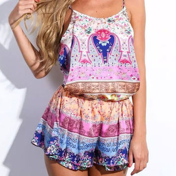 Fashion Printed Sleeveless Straps  Rompers