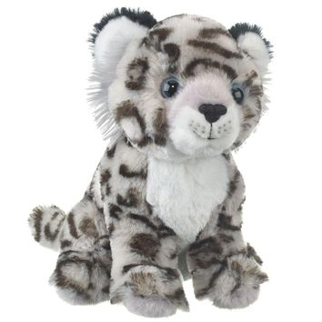 "8"" Sitting Snow Leopard Small Stuffed Animals Floppy Zoo Conservation Collection"