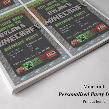 Minecraft Personalised Birthday Party Invitations. Creeper Spider Enderman Zombie TNT Steve. Digital file PRINT at HOME