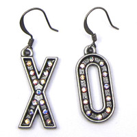 Hugs and Kisses X, O, Earrings of Antique Silver