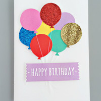 Glittering Balloons Birthday Card