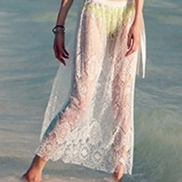 Skirt ~ Feather Light Lace Skirt, Swimsuit Cover Up Skirt