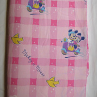 Disney Mickey et Minnie Mouse TWIN Size Duvet Cover Pure Cotton Kids Bedding Fabric Scooters French From Minnie With Love Clean Supply USED