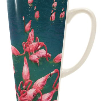 Bright Pink Painted Flamingos 16 Ounce Conical Latte Coffee Mug All Over Print
