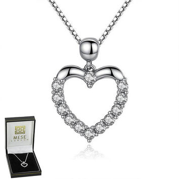Diamonds Heart Necklace 925 Sterling Silver Love Pendant - Elegant Gift Box