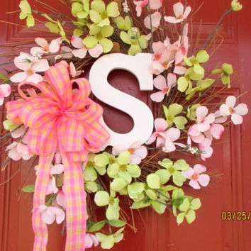 Monogramed Spring Wreath-Spring door hanger-Cherry Blossom wreath-Customized Mothers Day wreath-Summer wreath-Easter door decoration-
