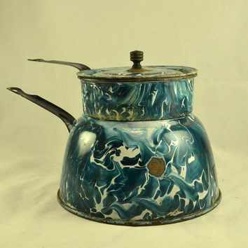 Graniteware Douple Boiler Chrysolite Green Emerald Swirl -1800s Agateware Enamelware w/ Wood Knob Lid - RARE Antique