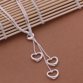 Flirtatious silver plated 925 three heart multi chain necklace