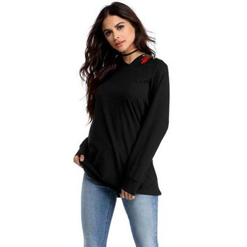 NOVO5 Women Embroidered Long Sleeve Hooded Tops Autumn Blouse Shirt Casual Clothing (Black)