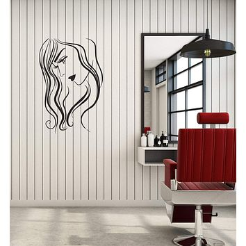 Vinyl Decal Wall Sticker Long Curly Hair Woman Beauty Salon Decor (g021)