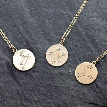 zodiac necklace, 14k gold, rose gold,white gold, star constellation necklace, diamond zodiac necklace, personalized necklace, gift idea
