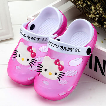 2017 Summer Kid Toddlers Girl Sandals Princess Shoes Boys Hello Kitty Soft Baby Flat Sandals Children Shoes Girls Beach Sandals