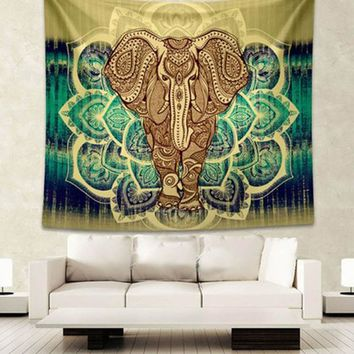 mandala tapestry wall tapestry Indian Style Elephant tapestry Printed Black Wall Hanging Rectangle Decorative Tapestries Sheet
