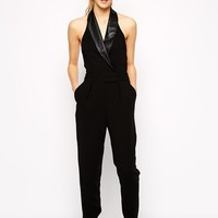 Posh Girl Black Leather Trim Halter Jumpsuit