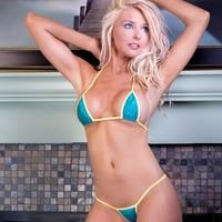 Teal Dots Sexy Micro G String Bikini 2pc Small Triangle Top and Mini Thong Minimal Coverage Swimwear Exotic Dancewear Extreme w/ Yellow